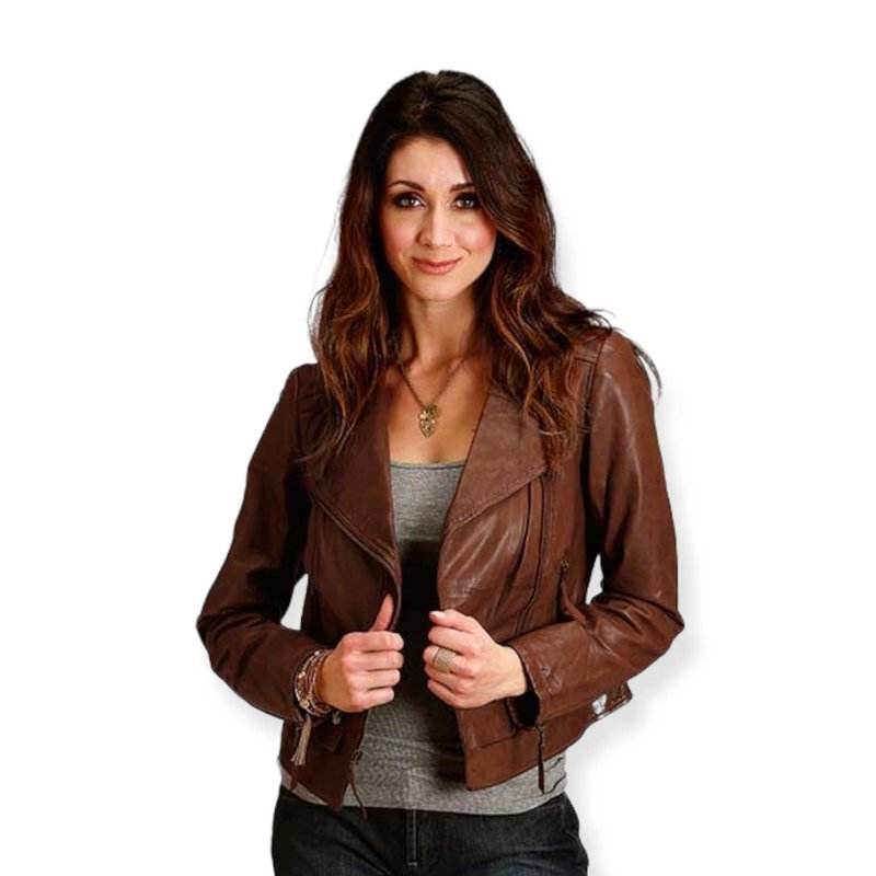 Moto Style Jacket with Quilted Shoulders   Brown