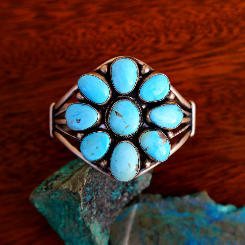 Sterling   Turquoise Floral Cuff