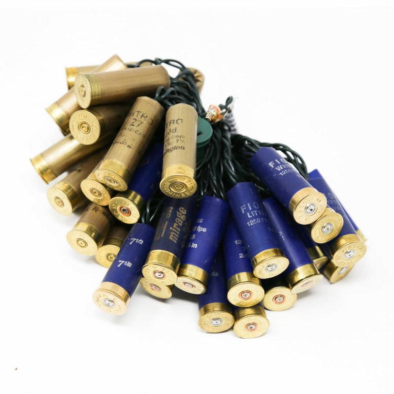 Upcycled Shotgun Shell Lights | Blue & Gold