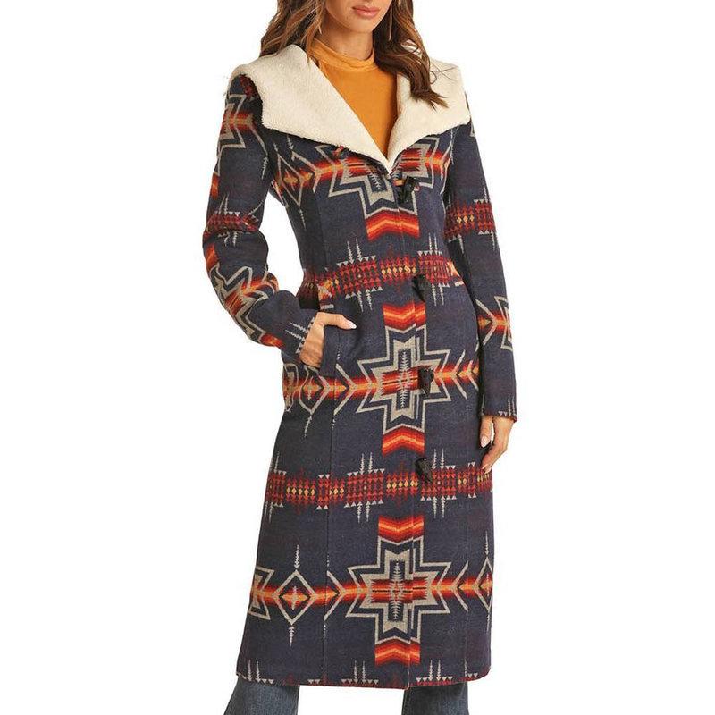 Aztec Jacquard Long Wool Coat