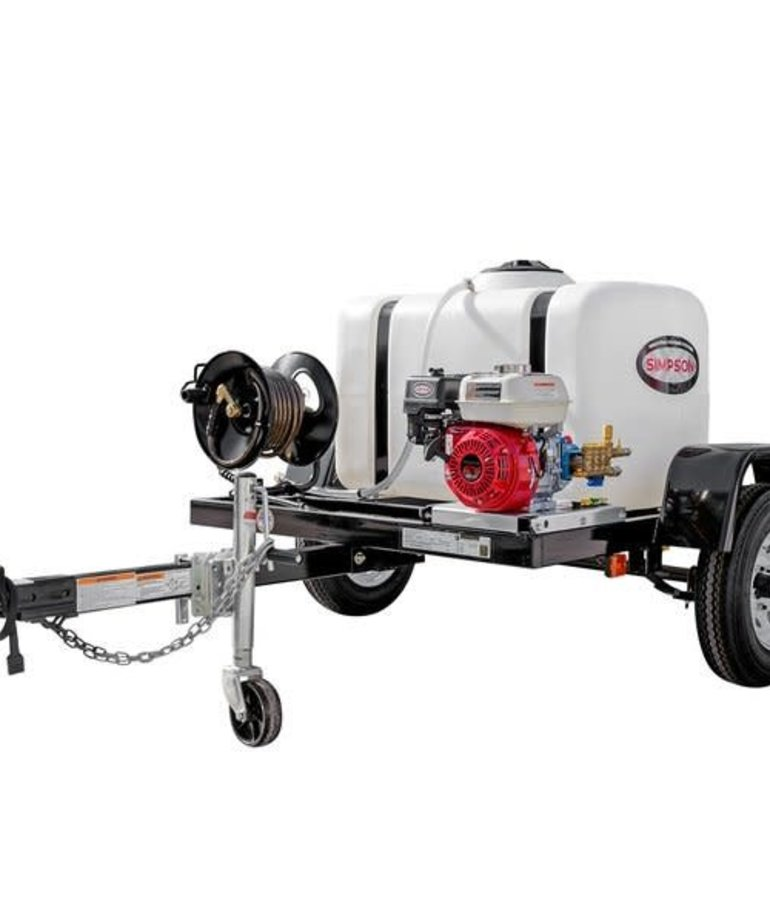 SIMPSON Simspon 3200 PSI at 2.8 GPM HONDA GX200 with CAT Triplex Plunger Pump Cold Water Professional Gas Pressure Washer Trailer