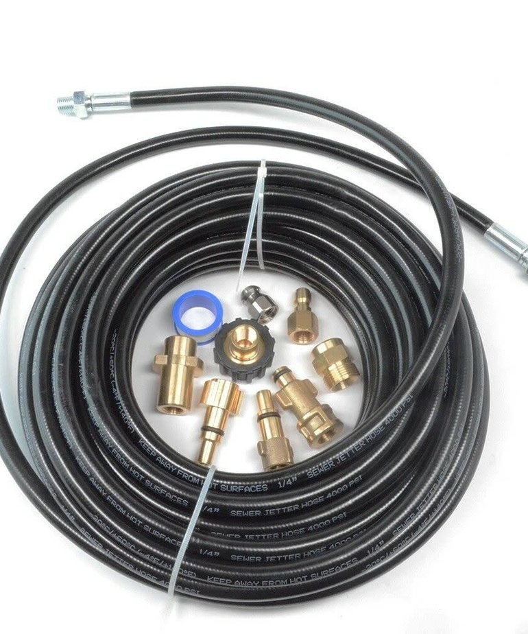 """PRESSURE PARTS Pressure Parts Sewer Line and Drain Jetter Kit 1/4"""" x 50' Hose with Sewer Nozzle & Adapters"""
