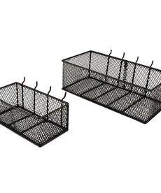 EVERBILT Everbilt Steel Mesh Pegboard Basket in Black 2-Pack
