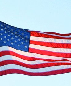 J&J HOME FASHION Embroidered American Flag 3' X 5'