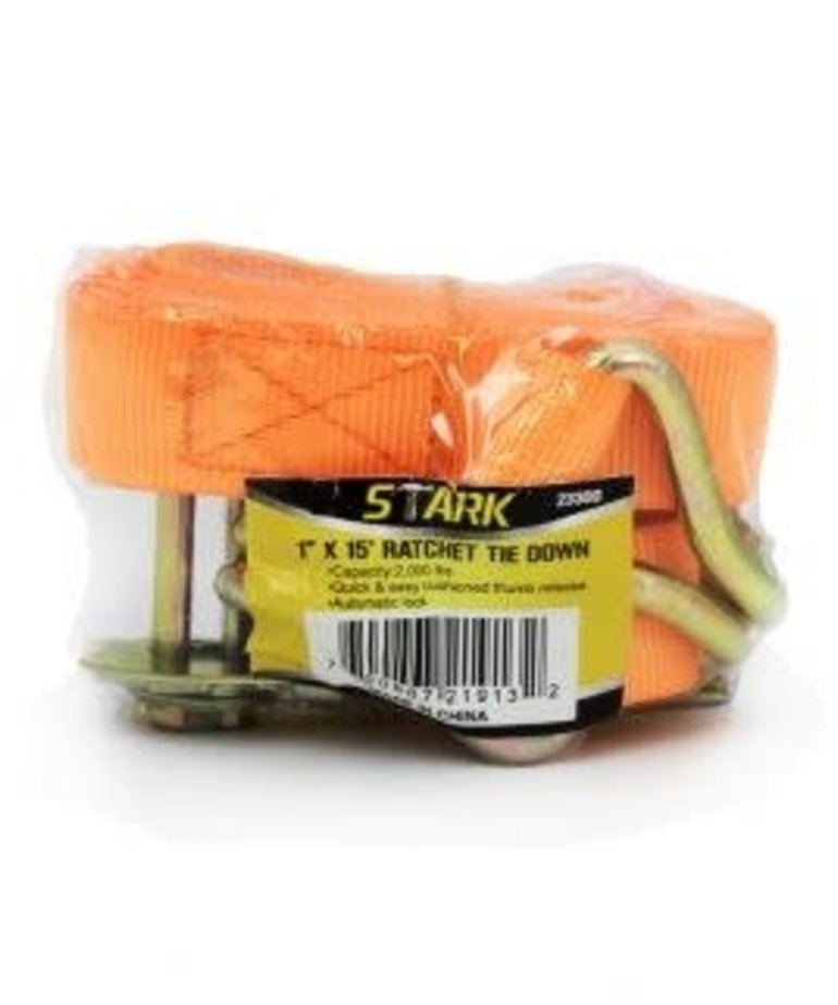 "STARK Stark J Hook Ratchet Tie Down 1"" X 15' 2000 LB"