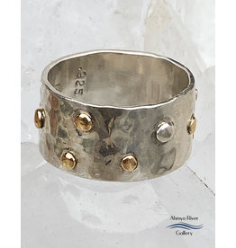 Jennifer Lamprey Sterling Ring with 14K Gold Dots - Size 7.5