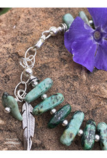 Annette Colby - Jeweler African Turquoise Oblong w/Feather Bracelet - Annette Colby