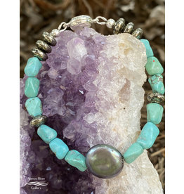 Annette Colby - Jeweler Coin Pearl, Turquoise, Pyrite Bracelet