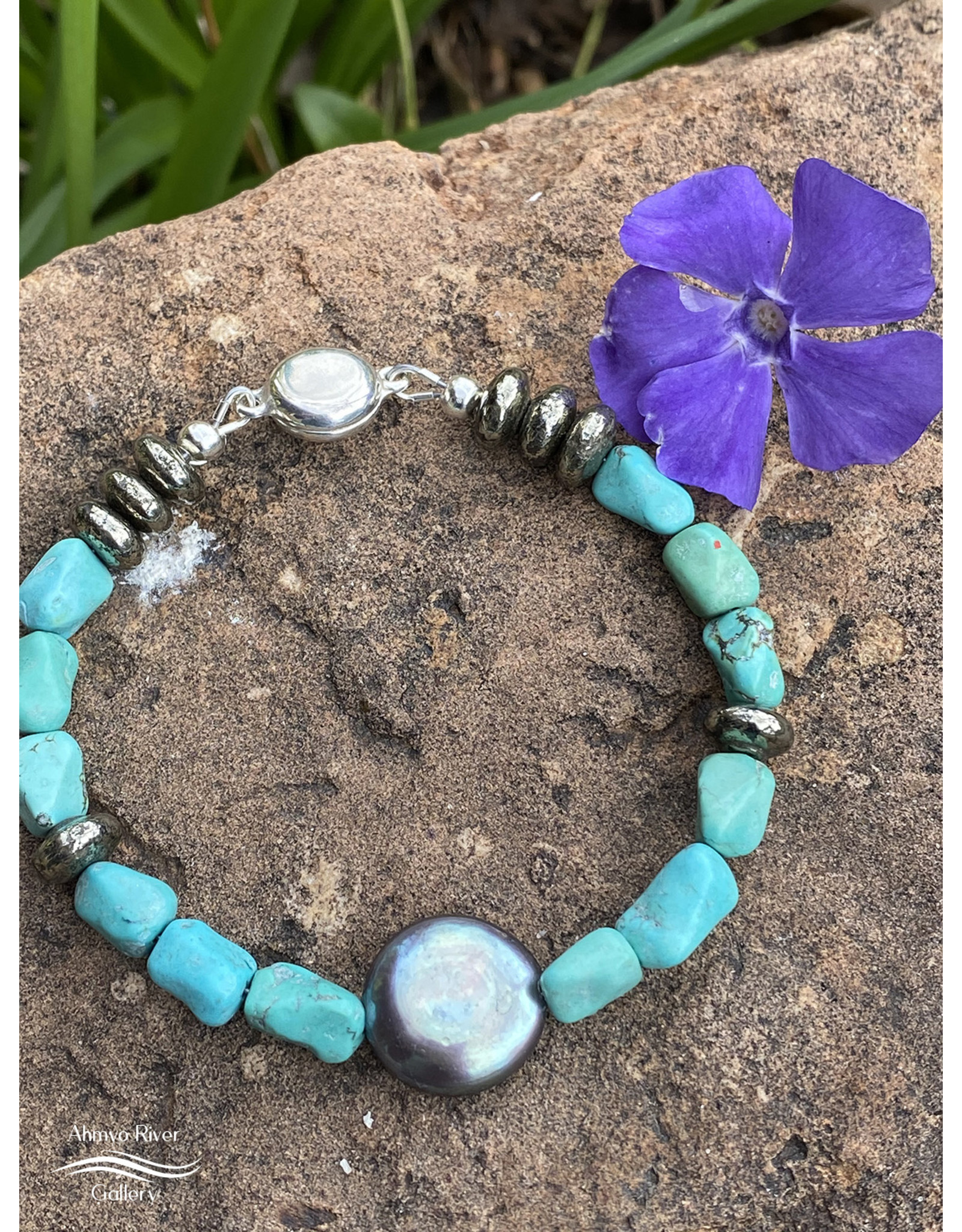 Annette Colby - Jeweler Coin Pearl, Turquoise, Pyrite Bracelet, Sterling Silver - Annette Colby