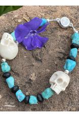 Annette Colby - Jeweler Elk Antler Skull and Turquoise Men's Bracelet - Annette Colby