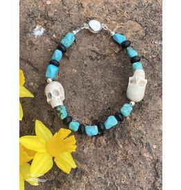 Annette Colby - Jeweler Elk Antler Skull and Turquoise Men's Bracelet