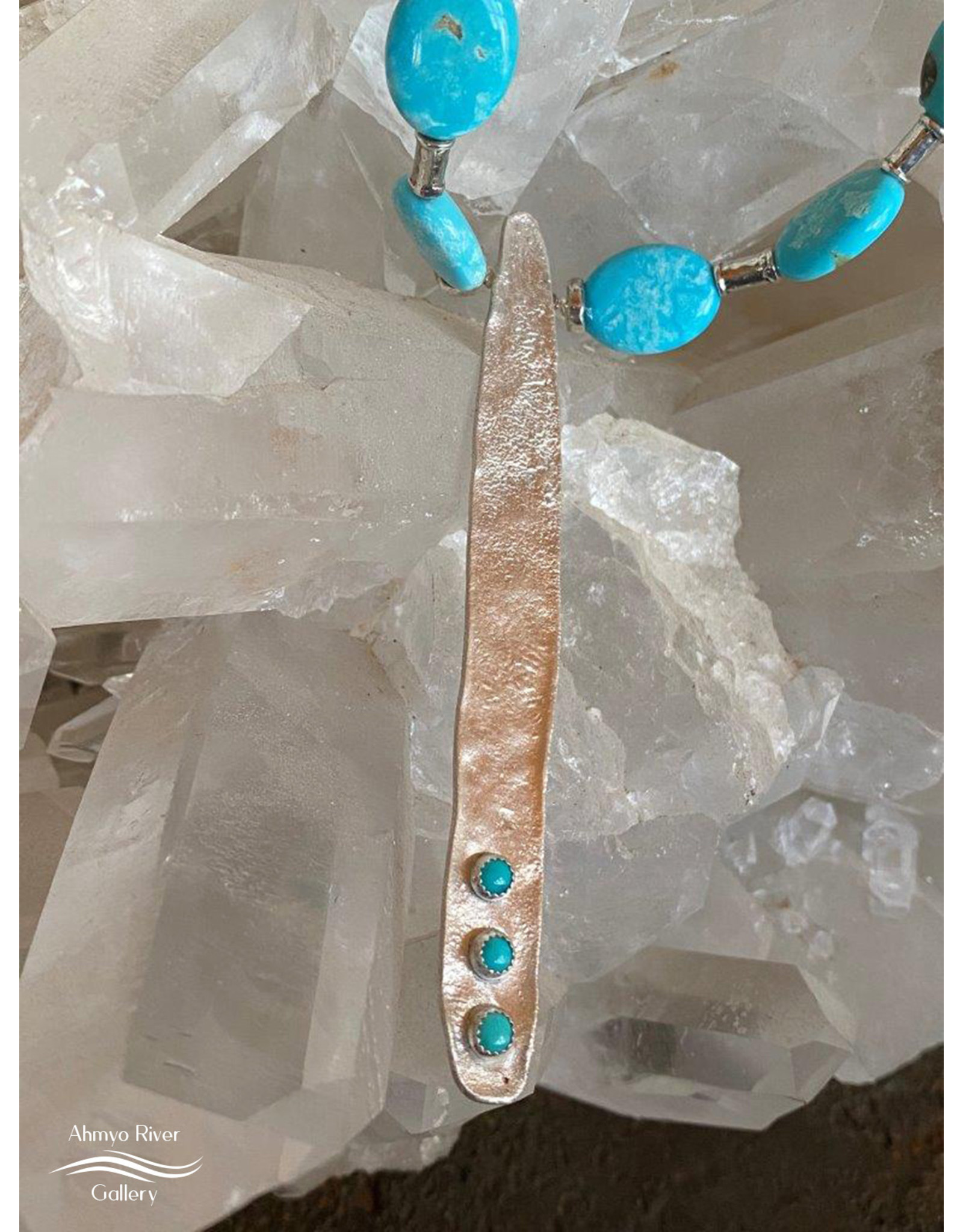 Annette Colby - Jeweler Sleeping Beauty Turquoise w/Reticulated Silver Necklace - Annette Colby