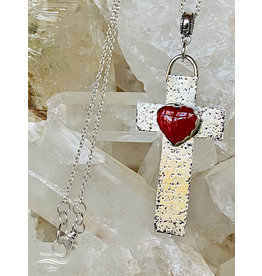 Annette Colby - Jeweler Sterling Cross with Rosarita Heart Necklace
