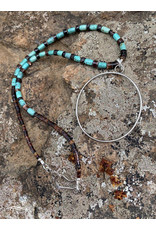 Annette Colby - Jeweler Sterling Hoop Turquoise Barrel + Shell Necklace  - Annette Colby