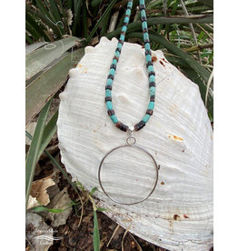 Annette Colby - Jeweler Sterling Hoop Turquoise Barrel + Shell Necklace