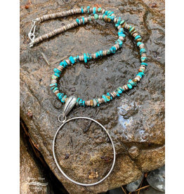 Annette Colby - Jeweler Sterling Hoop with Turqquoise & Heishi Shell Beads