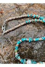 Annette Colby - Painter Sterling Hoop with Turqquoise & Heishi Shell Beads - Annette Colby
