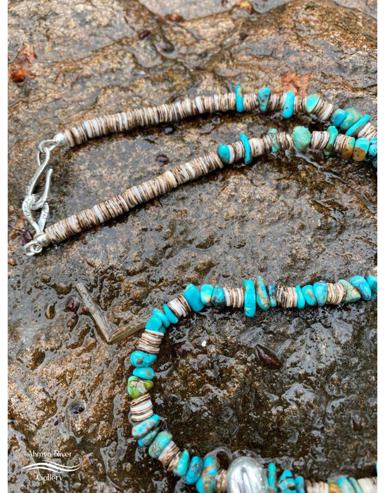 Annette Colby - Jeweler Sterling Hoop with Turqquoise & Heishi Shell Beads - Annette Colby