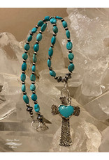 Annette Colby - Jeweler Sterling Silver Cross with Turquoise Heart & Necklace - Annette Colby