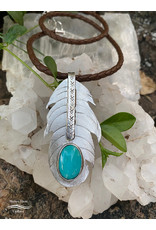 Annette Colby - Jeweler Braided Leather Necklace with Sterling Feather & Royston Turquoise Gemstone by Annette Colby