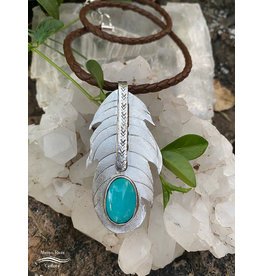 Annette Colby - Jeweler Braided Leather Necklace with Sterling Feather & Royston Turquoise Gemstone