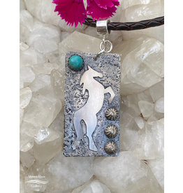 Annette Colby - Jeweler Tag Necklace, Sterling Horse w/Turquoise on Braided Leather