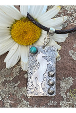 Annette Colby - Jeweler Tag Necklace, Sterling Horse w/Turquoise on Braided Leather - Annette Colby