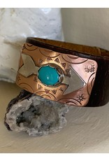 Annette Colby - Jeweler Sterling Arrow Sleeping Beauty Leather Cuff - Annette Colby