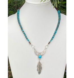 Annette Colby - Jeweler Moon & Feather with Sleeping Beauty Turquoise Necklace