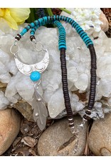 Annette Colby - Jeweler Moon & Feather with Sleeping Beauty Turquoise Necklace by Annette Colby