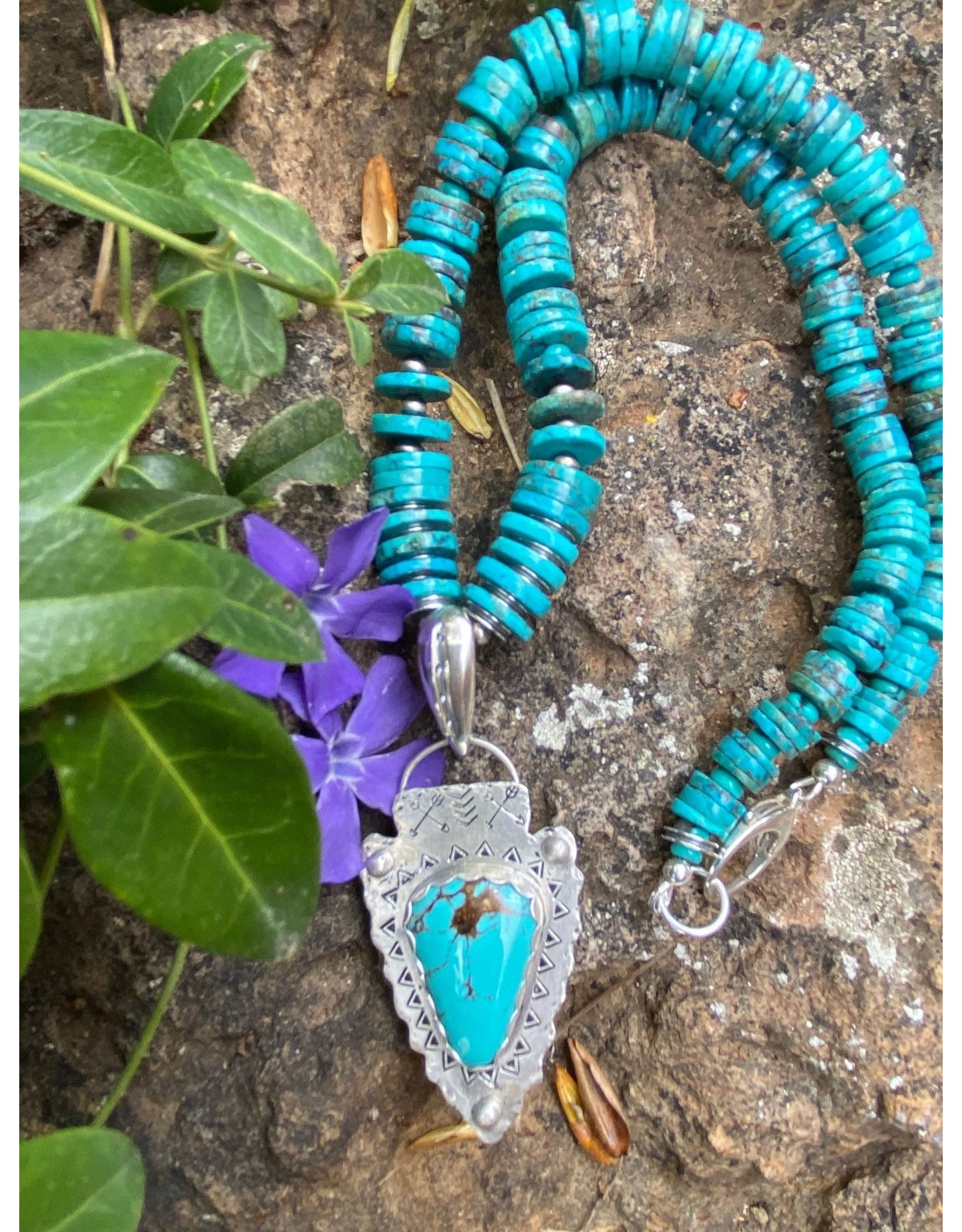 Annette Colby - Jeweler Royston Turquoise Arrowhead with Turquoise Necklace by Annette Colby