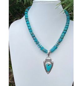 Annette Colby - Jeweler Royston Turquoise Arrowhead with Turquoise Necklace