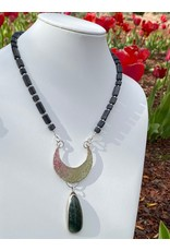 Annette Colby - Jeweler Sterling Moon w/Jasper on Onyx Necklace - Annette Colby