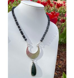 Annette Colby - Jeweler Sterling Moon w/Jasper on Onyx Necklace