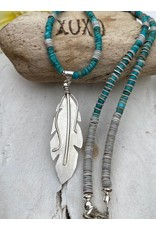 Annette Colby - Jeweler Sterling Feather Turquoise Heishi with Shell Necklace by Annette Colby