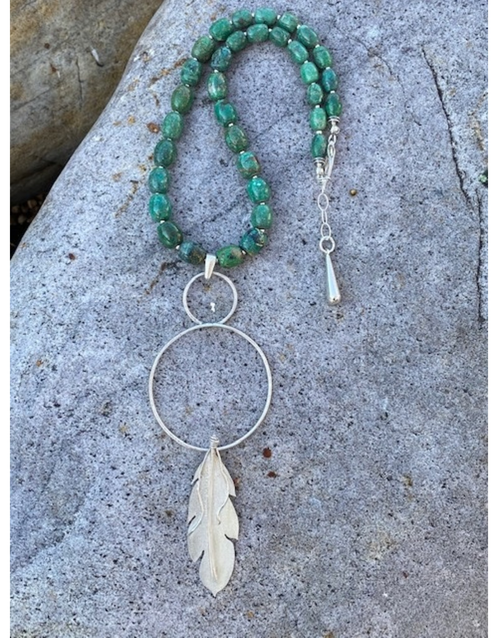 Annette Colby - Jeweler Turquoise Sterling Circle Feather Necklace by Annette Colby