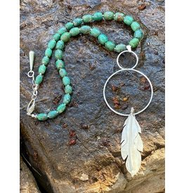 Annette Colby - Jeweler Turquoise & Sterling Circle Feather Necklace