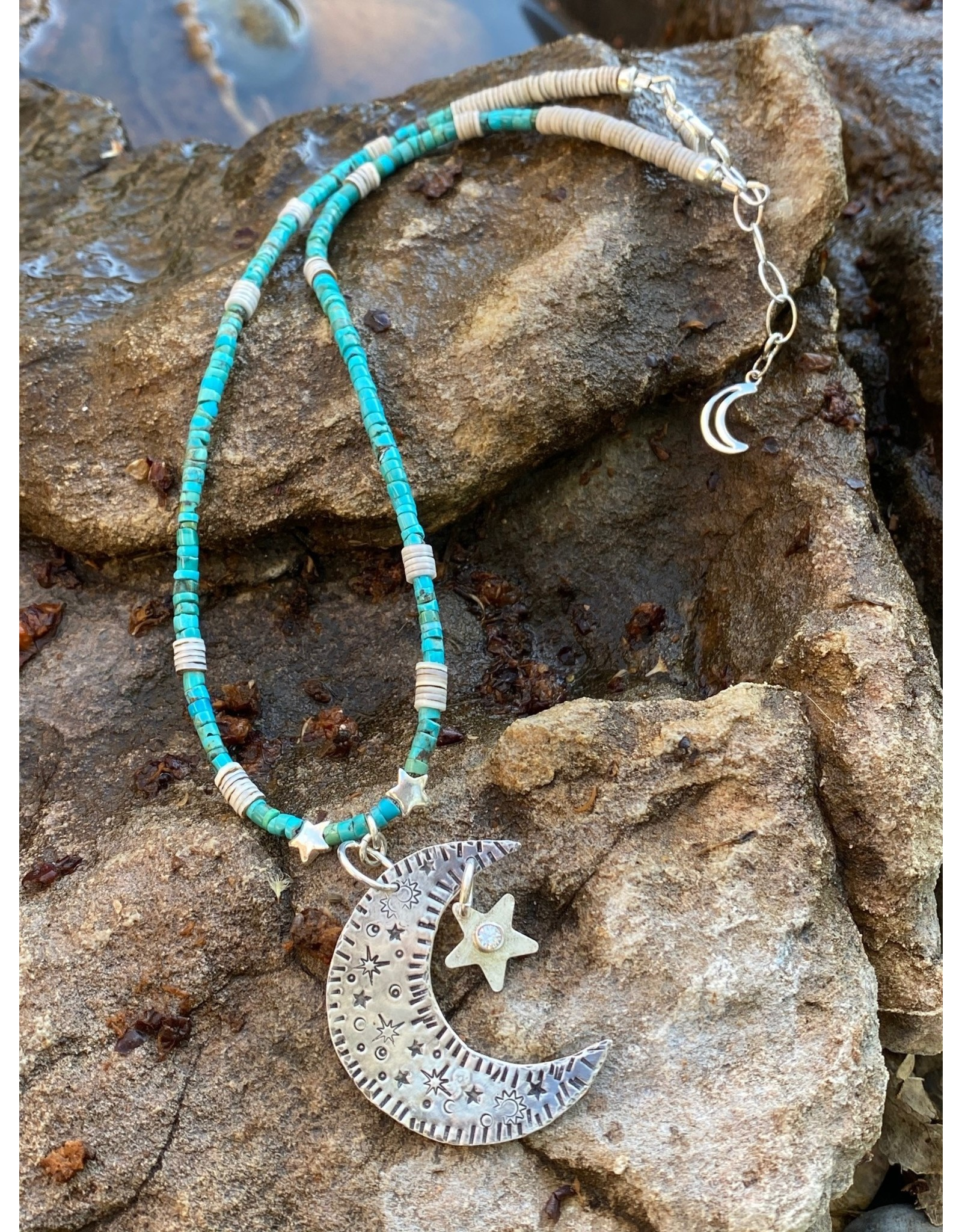 Annette Colby - Jeweler Sterling Moon Star with Turquoise Heishi Necklace by Annette Colby