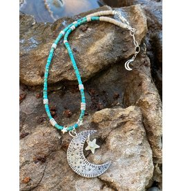 Annette Colby - Jeweler Sterling Moon Star with Turquoise Heishi Necklace