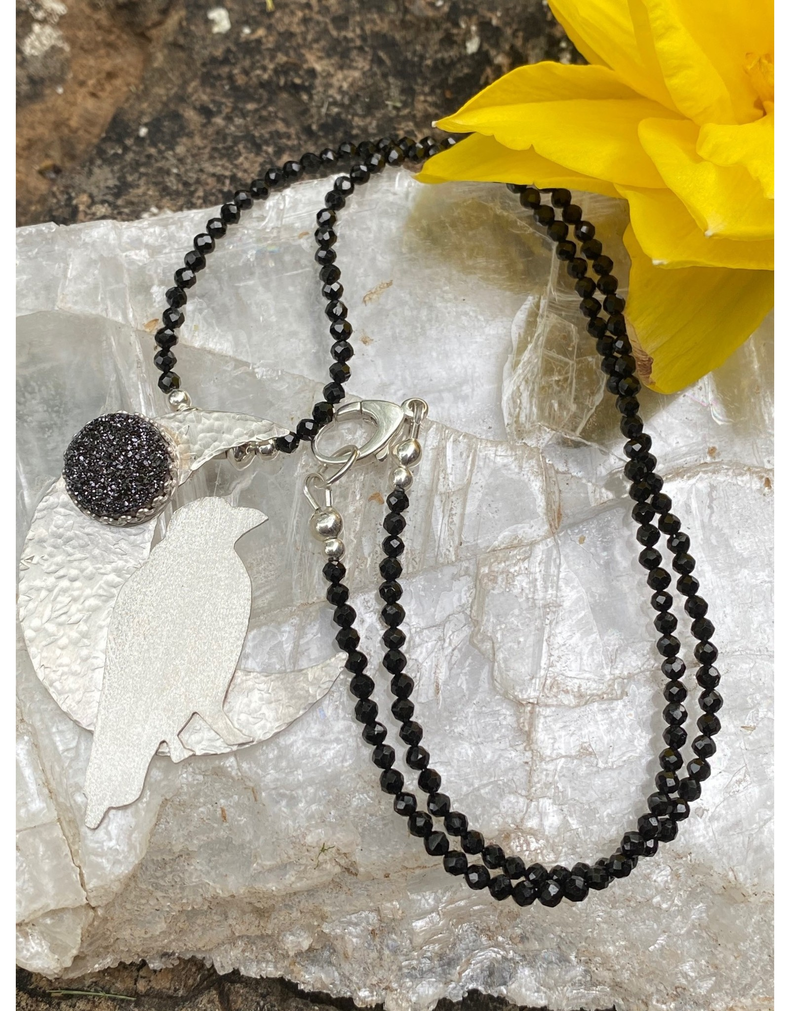 Annette Colby - Jeweler Sterling Raven Moon Black Druzy Necklace - Annette Colby
