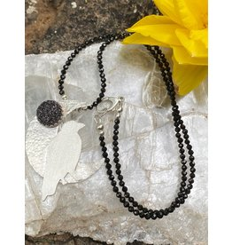 Annette Colby - Jeweler Sterling Raven Moon Black Druzy Necklace