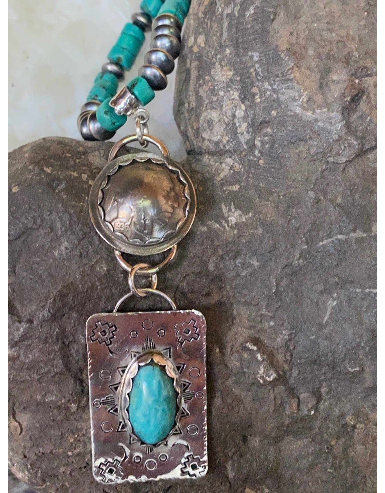 Annette Colby - Jeweler Indian Nickel with Royston Sterling Pendant Necklace by Annette Colby