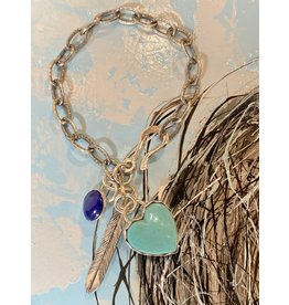 Annette Colby - Jeweler Kingman Turquoise Heart, Lapis Feather, Link Bracelet