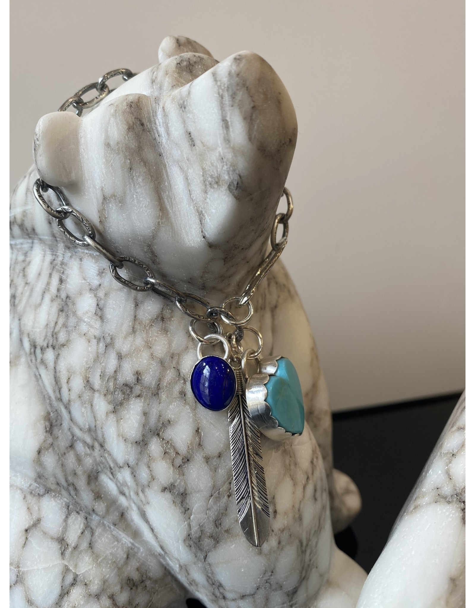 Annette Colby - Jeweler Kingman Turquoise Heart, Lapis Feather, Link Bracelet - Annette Colby