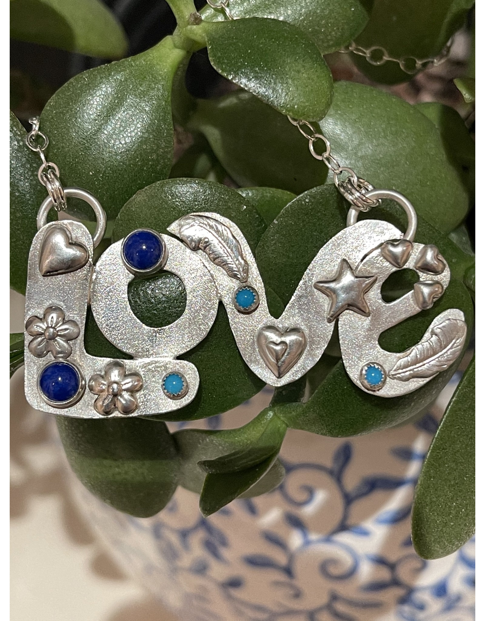 Annette Colby - Jeweler Sterling Love Lapis Turquoise Chain Necklace - Annette Colby