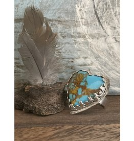 Annette Colby - Jeweler Kingman Turquoise Heart Ring Size 7