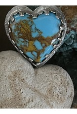 Annette Colby - Jeweler Kingman Turquoise Heart Ring Size 7 - Annette Colby
