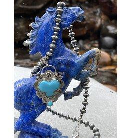 Annette Colby - Jeweler Kingman Turquoise Heart Pendant Birds Rose Necklace