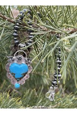 Annette Colby - Jeweler Kingman Turquoise Heart Pendant Birds Rose Necklace  - Annette Colby