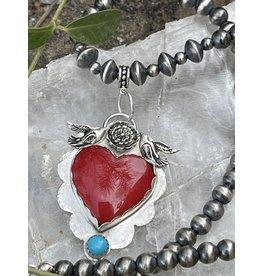 Annette Colby - Jeweler Rosarita Heart Pendant, Birds & Flower Necklace